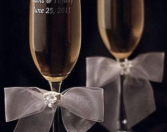 Porcelain Stephanotis Bouquet Wedding Toasting Glasses - Custom Engraving Available - 30725S