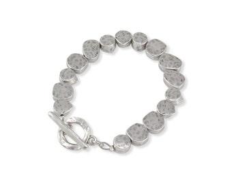 Chunky Silver Bracelet, Silver Nuggets Bracelet, Brushed Silver Bracelet, Beaded Silver Bracelet, Organic Silver Bracelet