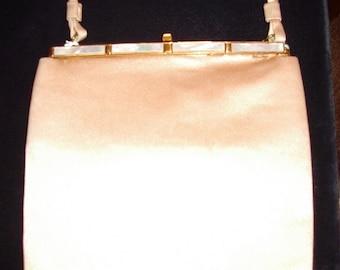 "Vintage ""Laron"" Creaml Silk Satin Pearl Frame Afternoon/ Evening Handbag Mint Condition # 96 Purses"