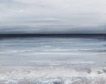 Sea View - limited edition print Grey White . Guaranteed not to fade for 80 years. Large range of sizes