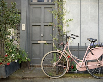 Bicycle Photography, Pink, Bicycle, Fine Art Photo, Travel Photography, London House, Wall Art, Home Decor, girls room, Matted Print