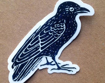 Clear vinyl crow sticker