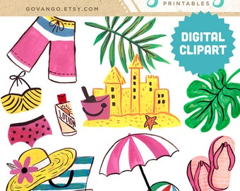 BEACH Digital Clipart Instant Download Illustration Artwork Watercolor Vacation Summer Sandcastle Ocean Bikini Swimming Flip Flops Tropical