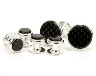 Carbon Fiber Silver Cufflinks Tuxedo Stud Set Unique Gift Carbon Fiber Gift For Him Mens Jewelry Gift For Dad Tuxedo Shirt Studs Fathers Day