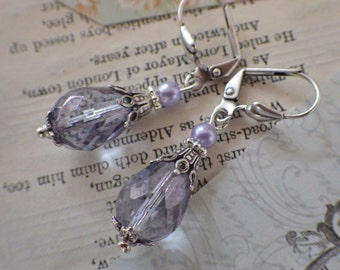 Lilac Amethyst ~ Silver Earrings ~  Lavender Glass Dangles ~ Vintage Style ~ Art Nouveau ~ Hypoallergenic ~ by LadyofTheLakeJewels