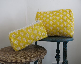 Yellow Chameli Wash Bag Hand Block Printed on Organic Cotton
