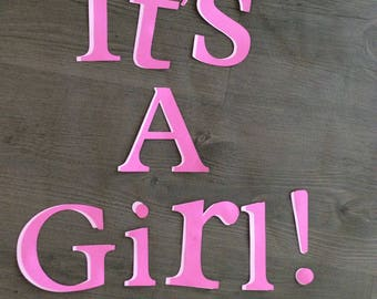 Its A Girl 3.5 inch banner die cut letters