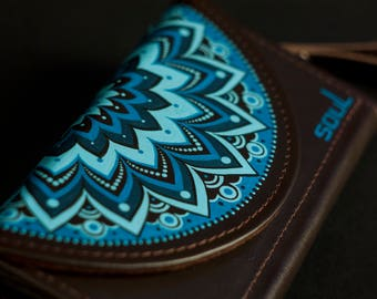 Wallet women. Womens leather wallet. Brown leather wallet. Original wallet. Big leather wallet. Handmade. Painting. Mandala. FREE SHIPPING!
