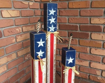 Rustic Front porch decor, Firecracker Set, 4th of July, Fourth of July, party decor, American flag, home decor, garden decor, holiday decor