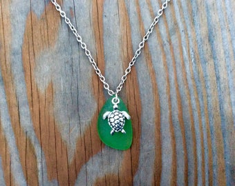 Sea Glass Turtle Charm Necklace