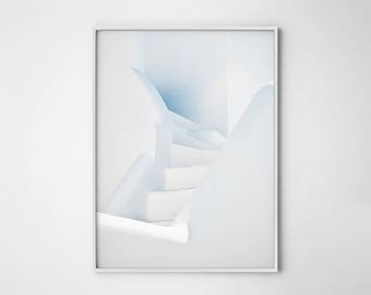 White stairs print, White and blue, Rustic wall art, Stairs print, Greek island, Santorini photography, Minimal art, Contemporary wall art