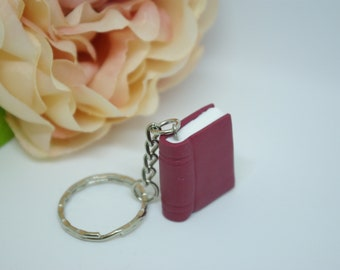 Book keychain, Polymer clay book, Book charm, Book lover gift, Keyring, teacher's gift,