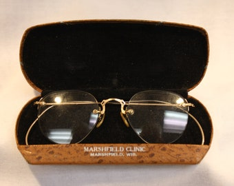 1 Pair Vintage Wire-Rimmed Glasses Frames And Vintage Case, 1930's