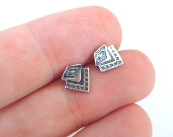 Silver stud earrings | Tribal studs | Small post earrings | Silver studs | sterling post earrings | Geometric studs