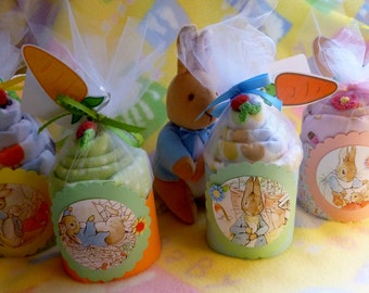 Peter Rabbit..Beatrix Potter.. Baby Shower...Boy, Girl or Neutral..Baby Blanket Cake..Peter Rabbit Baby Shower Gift and Decor..Adorable :)