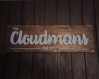 String Art Name Sign/ Bridal Shower Gift/ Wedding Gift/ Housewarming Gift/ Newlywed Gift/ Wedding Sign/ Farmhouse Decor/ Anniversary Gift