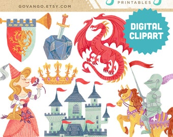 MEDIEVAL TIMES Digital Clipart Instant Download Illustration Princess Dragon Knight Castle Fantasy Fairy Tale Storybook Scarborough Clip Art