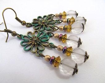 Vintage Brass Hippie Flower Earrings, Daisy Earrings, Glass Bead Dangles, Green Verdigris, FTD Awareness