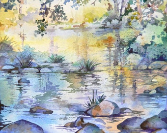 Nature. Landscape. Summer. Original Watercolor Painting. Morning Reflections. One of a kind artwork. 20 x 25 cm.