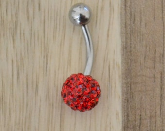 Red Chunky Multi Gem Ball Belly Button Ring Navel Body Piercing Jewelry