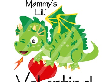 Mommy's Little Valentine Dragon Digital Download for iron-ons, heat transfers, T-Shirts, Onesies, Bibs, Towels, Aprons, DIY YOU PRINT