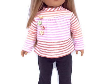 Striped Shirt, Black Leggings, 18 Inch Doll Clothes, White, Pink, Orange, and Sparkly Red Striped Shirt, Winter Doll Clothes