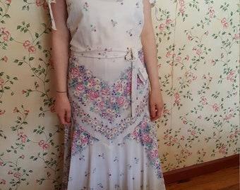 70's Vintage Bohemian Floral Festival Dress