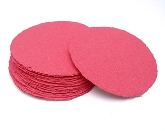 Raspberry red paper circles, handmade paper, recycled, deckle edge, set of 10