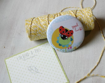 Illustrated magnet, ladybug Yellow flower, animal, insect, circular magnet with design, birth favor, gift