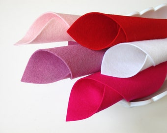 Wool Felt Set, Have a Heart Color Story, Valentine Set, DMC Floss, Red, Light Pink, Rose Pink, White, Cerise, Felt Hearts, Applique