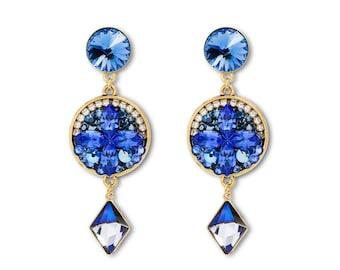 Blue Sapphire Earrings, Luxury Sapphire Earrings, Blue Earrings, Sapphire Earrings, Long Earrings, Long Swarovski Earrings, Luxury Earrings