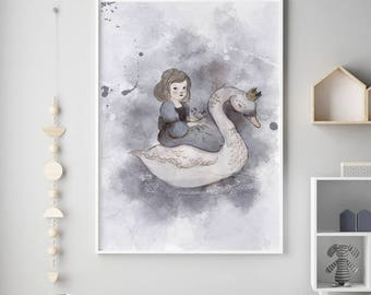 swan and Girl, Inspirational nursery Quote, Nursery decor, Nursery art print, unicorn nursery