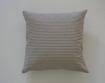 Ticking Striped 18x18 Pillow Cover Blue Stripes On Cream Background