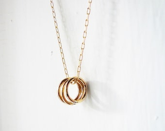 Three Gold Circles Necklace in Gold Filled - Three Rings Necklace. Gold Circles Necklace. Tiny Gold Circles Necklace. 14K Gold Filled.
