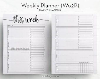 Week on Two Pages, Happy Planner, Weekly Planner, Undated Planner, Habit Tracker, Printable Planner, Daily Planner, MAMBI, MAMBI Planner