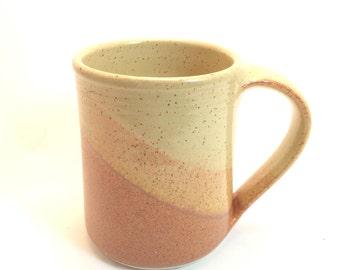 Large Hand Thrown Stoneware Mug --  Nutmeg Brown / Sahara cream  Handmade  Pottery Coffee tea cocoa mug -- hand thrown stoneware ceramic mug