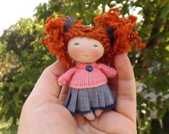 Rag redhead handmade collectible doll, fabric tiny dollhouse miniature dolls, cloth art pocket doll