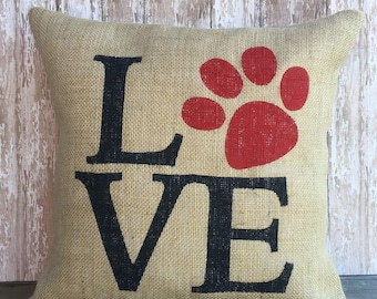 Love-Paw Print Decorative Pillow Cover, Throw Pillow, 16x16 or 12x16 Pillow Cover