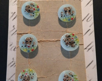 6 Adorable Vintage Pressed Glass Hand Painted Doggie Buttons