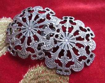 2 medallions connectors silver openwork * 6.8 cm * medieval style
