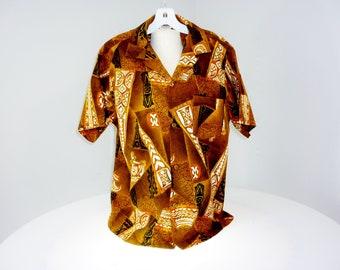 1950's Hawaiian Tapa Barkcloth Shirt by Made In Hawaii Mint