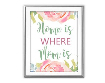 SALE-Home Is Where Mom Is Watercolor Roses- Digital Print- Wall Art- Digital Designs- Gallery Wall- Quote Prints-Mother's Day-Mom Gift