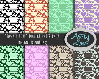 Scrapbook Paper - Digital Papery - Printable Paper - Coffee Heart Design - Craft Supplies - Scrapbook Supplies - 8 Paper Pack