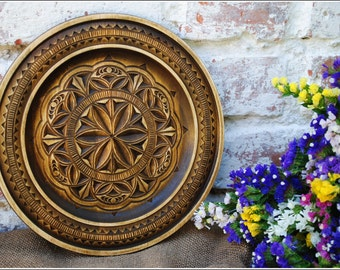 Wooden Wall Decor Rustic Wooden Plates Wooden Decorative Plate Wall Plate Carved plate Wooden Plate Hanging Plate Wood gift kitchen decor & Decorative plates   Etsy