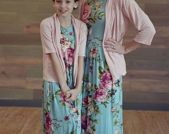 Mom and Me Teen's Floral Dress - Women's Maxi Dress, Women's Floral Dress, Vintage Maxi Length Dress