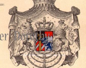 Königliche Familie Wappen Wappen Deutschland 1887 viktorianischen Heraldik Antik Farblitho Kunst, Rahmen