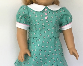 "18"" doll aqua flowered dress with pink trim and pink buttons"