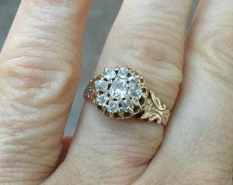 SALE Victorian Diamond Engagement Ring STUNNING Diamond Cluster Antique 14K Gold Size 7 1/4