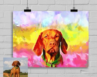 Custom dog paintings - Puppy paintings - dog portraits - dog poster - realistic pet painting from your photos - colorful backgrounds