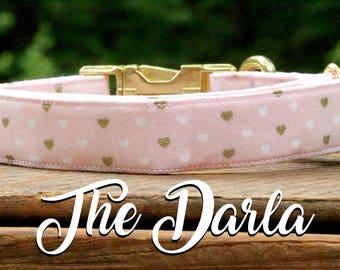 Dog Collar Valentines Day, Valentines Day Collar, Pink Dog Collar, Pink and Gold Dog Collar, Valentines Day, Heart Dog Collar, Dog Collar